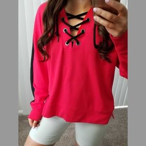 PINK Lace Up Hoodie